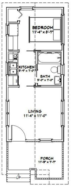 12x28 1 Bedroom House -- #12X28H1C -- 336 sq ft - Excellent Floor Plans