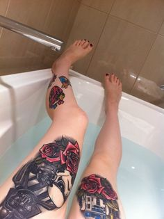 Star Wars leg tattoos