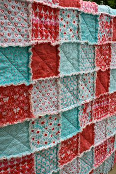 READY TO SHIP - Crib Rag Quilt, for baby or toddler, Aqua and Red by Michael Miller, girl nursery, red, aqua, pink, turquoise, photo prop. $115.00 USD, via Etsy.
