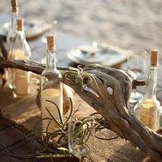 Beach Wedding Decor Inspiration: driftwood and burlap Beach Wedding Tables, Beach Wedding Centerpieces, Wedding Table Settings, Wedding Receptions, Beach Table Decorations, Bottle Centerpieces, Simple Centerpieces, Thanksgiving Centerpieces, Centerpiece Ideas