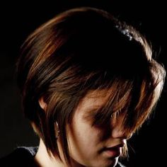 By Michael Webb. Dark chocolate as base color with chunky coppery red high lights to make it pop. The cut was an inverted layer. The blow out was done with a natural boar bristle round brush.