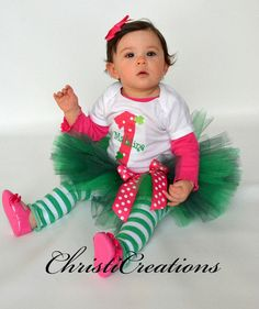 Baby Girl First Birthday Outfit St Patrick's by ChristiCreations