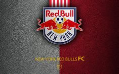 Download wallpapers New York Red Bulls FC, 4k, American soccer club, MLS, leather texture, logo, emblem, Major League Soccer, New York, USA, football, MLS logo