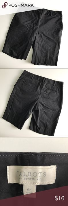 "Talbots bermuda shorts. Talbots factory store black bermuda shorts. Size 6 petite. Waist measures 15.25"" flat across. Rise 9"". Inseam 10"". Gently used condition. Sorry, no trades & I am unable to model. Talbots Shorts Bermudas"