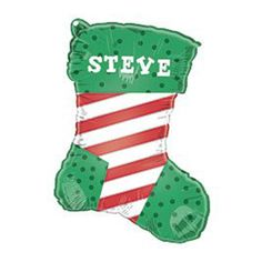 Christmas Stocking 'Add A Name' Shaped Foil Balloon – 18 Inches / 45cm | Partyrama.co.uk