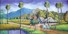 คลังรูป ภ.ภาพวาด: วิถีชีวิตชาวบ้าน Watercolor Art Landscape, Landscape Paintings, Village Scene Drawing, Acrylic Painting Flowers, Thai Art, Art Drawings For Kids, Fairy Art, Yellow Background, Thailand Travel