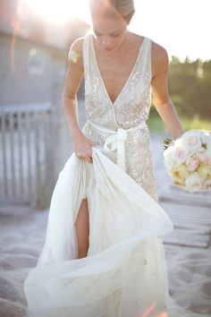 gorgeous gown by Dennis Basso- perfect for a coastal wedding