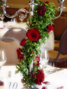 Romantic red rose candelabra centerpiece @ Vintners Inn Wedding. Sonoma County wedding flowers by The Wild Orchid. wildorchid707.com
