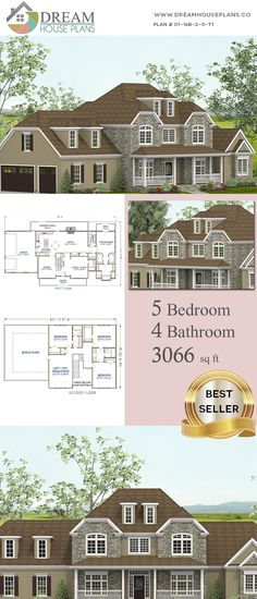 Dream House Plans: Best Southern Living Family 5 Bedroom, 3066 Sq. Ft. house plan with basement.  Shop our exclusive collection of small, large, simple and luxury home plans! We can even create a custom house plan at an affordable price.  Many options on our unique open floor plans such as: a wrap around porch, basement, 4 Bedroom, Cottage, Southern house plans.  #Southern  #Family  #HousePlan #HomePlans  #AffordableHousePlans #HousePlansWithPorches Porch House Plans, Basement House Plans, New House Plans, Dream House Plans, House Floor Plans, Simple House Plans, Southern House Plans, Southern Homes, Southern Living