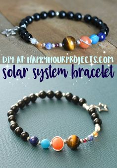 """Learn about science and space when you make this great geek gift: a DIY solar system bracelet! This tutorial features gemstone """"planets"""" and pewter accents. Old Jewelry, Simple Jewelry, Recycled Jewelry, Solar System Bracelet, Diy Solar System, Diy Schmuck, Diy Jewelry Making, Diy Kid Jewelry, Handmade Jewelry"""