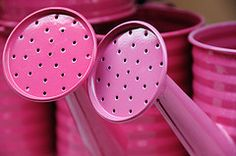 love the shade of pink on these watering cans http://farm3.staticflickr.com/2112/2838258591_3a4a8845c7_m.jpg