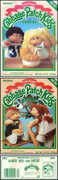 Ralston's Cabbage Patch Kids Cereal, 1985 I remember this cereal! And my favorite doll, Faith Alana Best Cereal, Kids Cereal, Cereal Boxes, 90s Childhood, Childhood Memories, Vintage Labels, Vintage Toys, Toy Catalogs, 80s Stuff