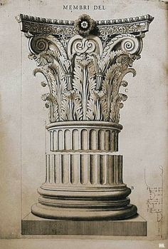 Antonio Labacco - - Capital Base from The Temple Of Castor Pollux, Rome - 1559 Classical Architecture, Architecture Drawings, Historical Architecture, Beautiful Architecture, Architecture Details, Architectural Prints, Architectural Elements, Corinthian Order, Detailed Drawings