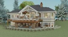 Cottage - exterior rear/side -- Plan 64404SC: 2 Bed Craftsman with Option for 2 More (Architectural Designs)
