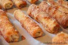 : Cinnamon Cream Cheese Roll-Ups (made with a loaf of sliced white bread)