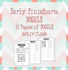12 pages of Boggle Worksheets to be used for vocabulary development and Early Finishers.The resource includes a blank worksheet where your own letters can be added.A printable rules poster is also included. Boggle, Early Finishers, Teacher Resources, Vocabulary, Worksheets, Printable, Letters, Ads, Teaching