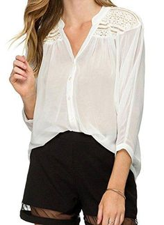 e57f1e32c1d Darceil Women s White Sexy V Neck 3 4 Sleeve Lace Patchwork Chiffon Blouse  Shirt (XL