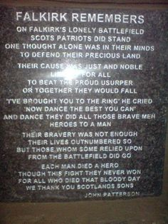 Plaque on the Falkirk Cairn - photo courtesy of the Society of William Wallace.