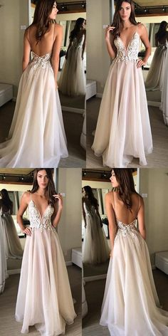 Sexy Open Back Spaghetti Strap Popular Inexpensive Long Prom Dresses Evening Dress,Sexy V-Neck Prom Dress