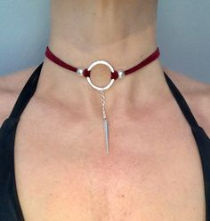 Suede chocker necklace with silver circle and pendant - Burgundy by AdornedBySuzie on Etsy https://www.etsy.com/listing/499280697/suede-chocker-necklace-with-silver
