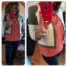 \the Printed Madeline Top today is making me feel better. Paired with Shrunken Blazer...you NEED this awesome jacket...and Comet Wash Boyfriend jeans from Fall 14. www.jeanettemurphey.cabionline.com