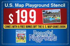 Limited offer! FREE US Playground Map Stencil Games Book w. order!  #playground #usmapstencil #ordernow #pematters