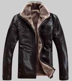 winter Mens Air Force pilot leather fur lining thick jacket coat outwear   eBay