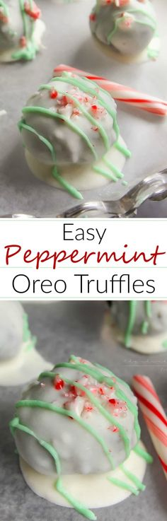 Peppermint Oreo Truffles | Creamy Oreo truffles, flavored with peppermint, coated in rich white chocolate and topped with crushed candy canes.. soon to be your favorite holiday treat!