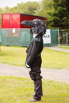 halloween costume black raven head