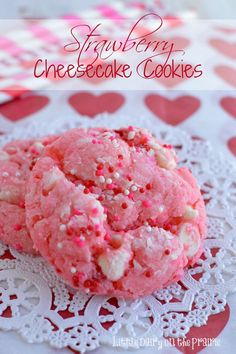 Strawberry Cheesecake Cookies from Little Dairy on the Prairie via Ella Claire