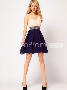 A Line One Shoulder Sleeveless Short Mini Chiffon Homecoming Dresses Prom Dress