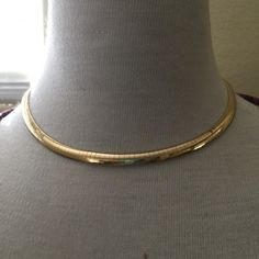 """vintage 14K Omega Necklace Vintage  14K Omega Necklace, 16""""  5mm choker necklace, 21.7 grams gold, security clasp Jewelry Necklaces"""