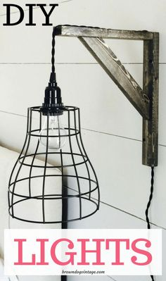 DIY Industrial farmhouse pendant lights and brackets - you can build two for around $40!  #diyproject #light #lighting #farmhousestyle
