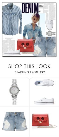 """Denim Shorts"" by littlefeather1 ❤ liked on Polyvore featuring Emporio Armani, Vans, Frame, Alima, topsets, denim and polyvoreeditorial"