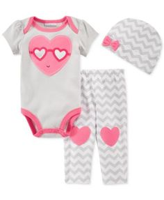 First Impressions Baby Girls' 3-Piece Heart Bodysuit, Pants & Hat Set, Only at Macy's