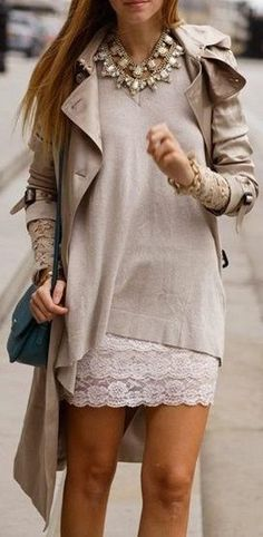 Lace Mini with Large Sweater