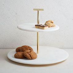Marble + Brass 2-Tier Cake Stand #westelm #HomeAppliancesStand