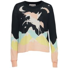 Wildfox Wildfox Land Far Away Unicorn Jumper ($220) ❤ liked on Polyvore featuring tops, sweaters, jumper, long sleeves, black, wildfox tops, unicorn top, long sleeve tops, jumper top and unicorn jumper