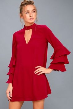 The Aesthetic Aspirations Red Flounce Sleeve Shift Dress will make your OOTD dreams come true! A mock neck (with two back buttons) tops this lightweight, woven dress with plunging cutouts at front and back. Tiered, flounce sleeves frame the flowy shift bodice.