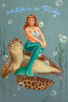 Mermaids. Sea Turtles.  Vintage retro-style pinup art.  Beach house decor.  Upscale coastal.  Original art by Brendan Coudal. BrendanCoudal.com