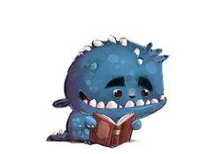 Monster reading a book white background, School Boy, Cute Drawings, Books To Read, Reading School, Beast, Fantasy, Cartoon, Garden Tips, Children