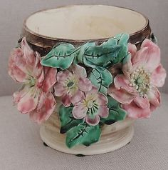 Antique-French-Barbotine-Planter-Jardiniere-Majolica-Rose-Cache-Pot