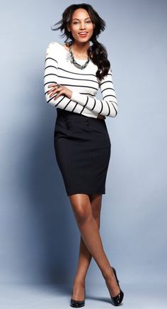 fashion, the office, black white, pencil skirts, work outfits, ann taylor, business casual, stripe, work attire