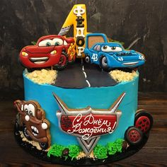 Тачки на 4 года Фёдору)) Шоколадный шоколад : шоколадный бисквит, шоколадный крем-чиз и шоколадный ганаш) Birthday Cake For Him, Baby Birthday Cakes, Royal Icing Cakes, Buttercream Cake, Dairy Queen Cake, Kids Birthday Crafts, Mcqueen Cake, Cake Topper Tutorial, Rolling Fondant