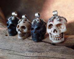 Tibetan Carved Skull Pendants with Floral by AquaTerraBazaar