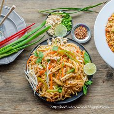 Herbivore Cucina: Vegetarian Pad Thai noodles is a simple recipe that can replace all your Thai take-outs! Make the basic noodles and serve with toppings.