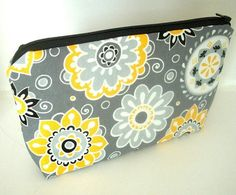 Yellow Dazzle Blooms Cosmetic Bag Large Padded Flat bottom Zipper Pouch by JPATPURSES, $16.00