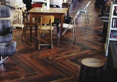 Absolutely LOVE this herringbone flooring made from SHIPPING PALLETS! Gorgeous and full of character!