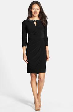 Embellished Neck Ruched Matte Jersey Sheath Dress