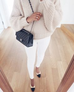 Chunky knit sweater. Chunky knit sweater outfit. Chanel medium flap. Chanel slingbacks outfit. Casual chic outfit.*affiliate link